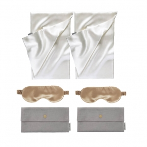 2 silk pillowcases 50x70cm, 50x75cm or 65x65cm plus 2 silk eye masks