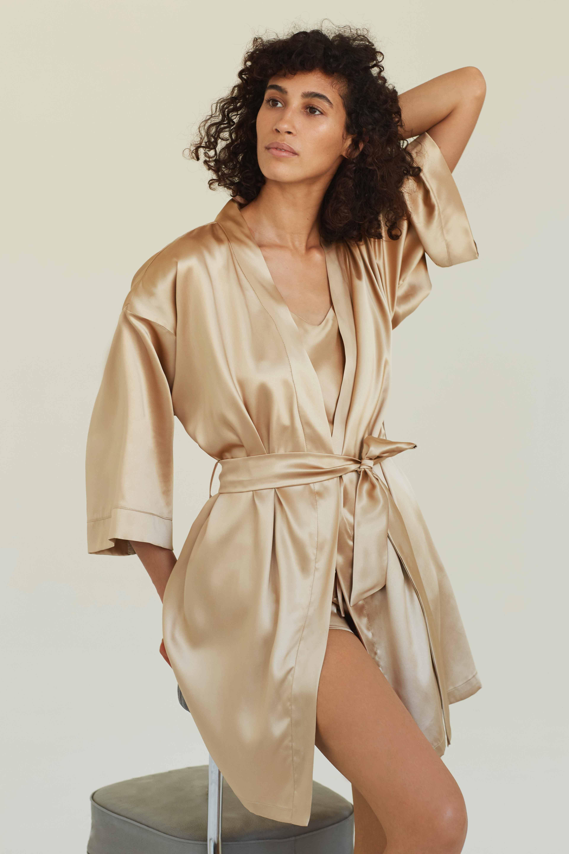 Silk Robe French Beige